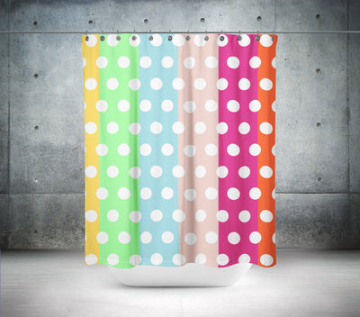 Multi Coloured Striped Polka Dot Shower Curtain