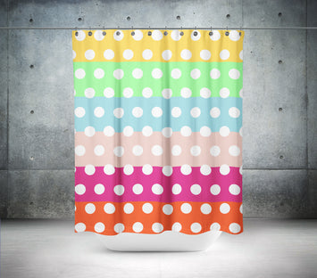 Coloured Horizontal Polka Dot Shower Curtain
