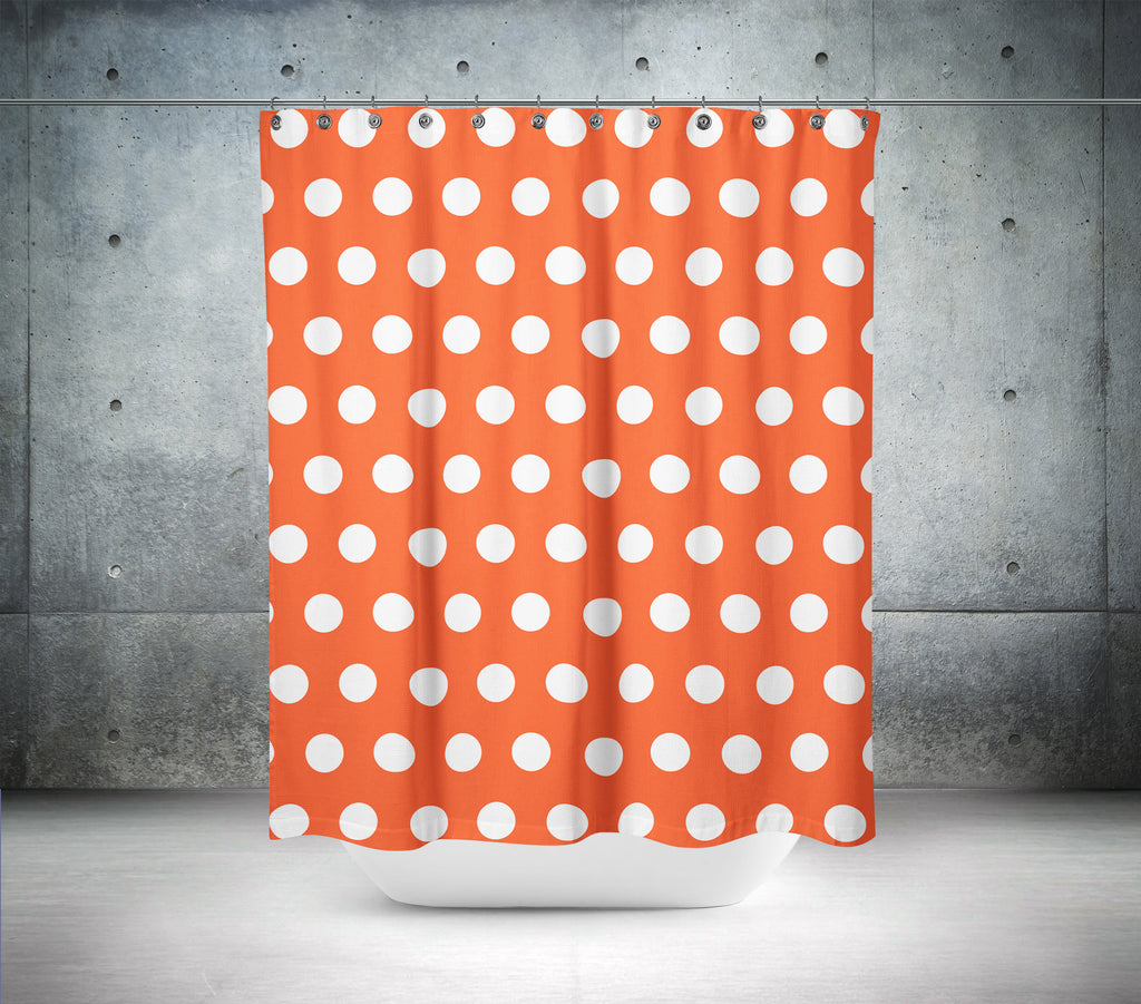 Flame Red & White Polka Dot Shower Curtain – Shower Ink