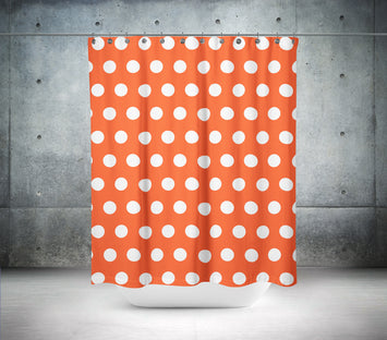 Flame Red & White Polka Dot Shower Curtain