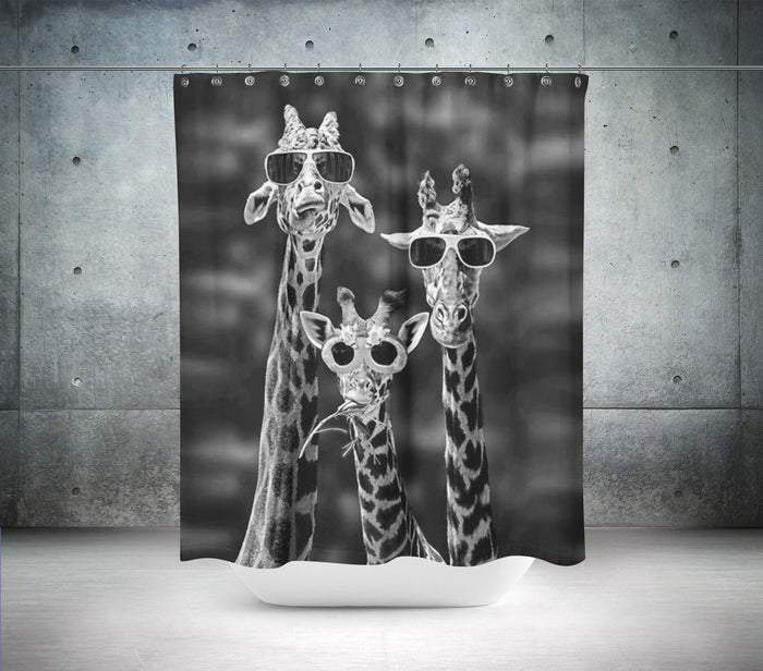 The Three Giraffes Shower Curtain