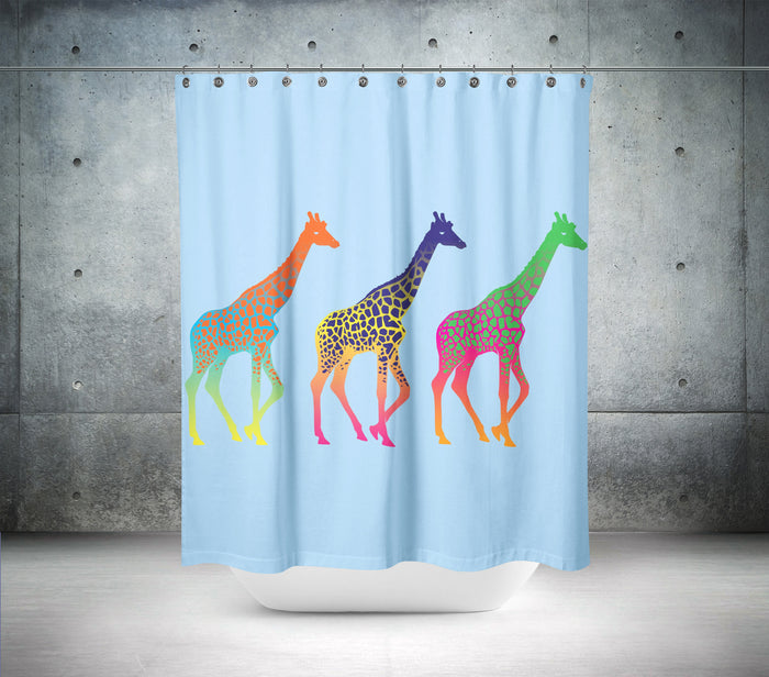 Coloured Giraffe Shower Curtain