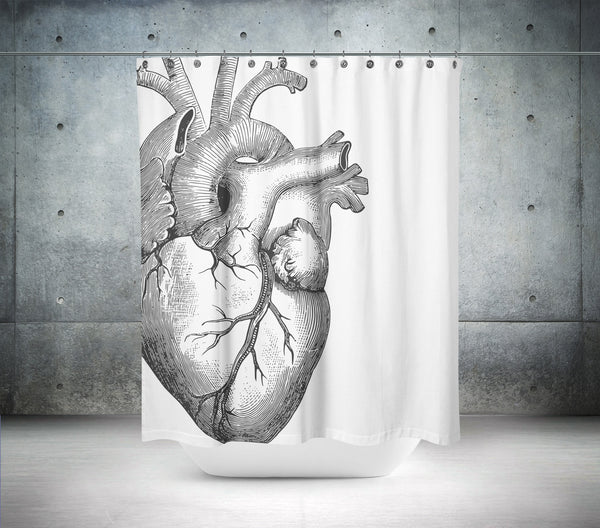 B & W Heart Shower Curtain