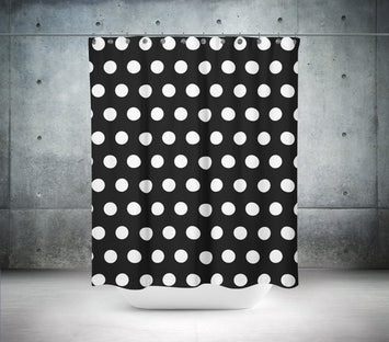 Black Background with White Polka Dots Shower Curtain