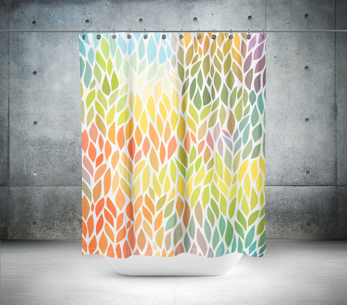 Coloured Leaf Shower Curtain