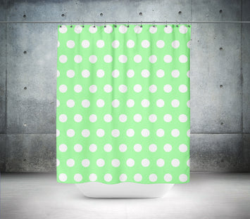 Mint Green Polka Dot Shower Curtain