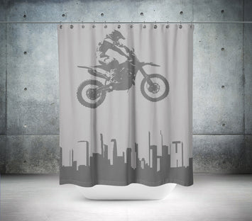 Black & White Motocross Shower Curtain