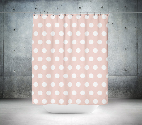 Pale Dogwood Polka Dot Shower Curtain
