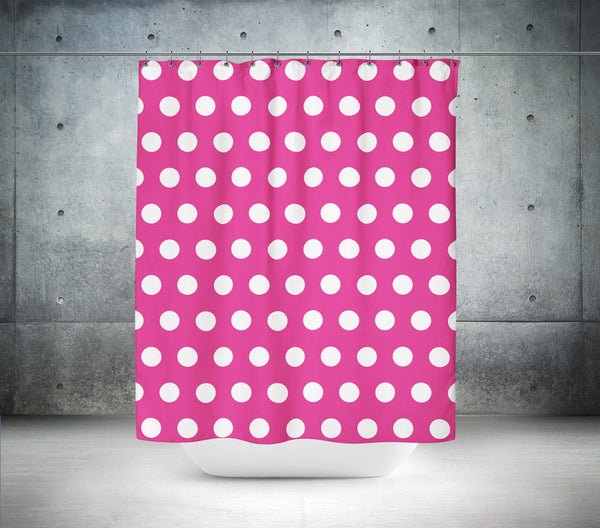 Pink Yarrow Polka Dot Shower Curtain