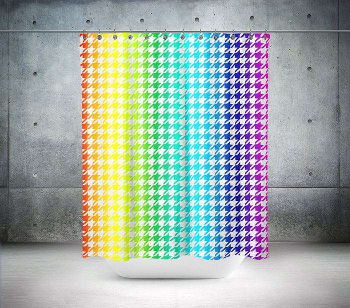 Funky Rainbow Hounds Tooth Shower Curtain