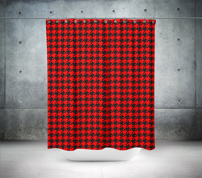 Red & Black Hounds Tooth Shower Curtain