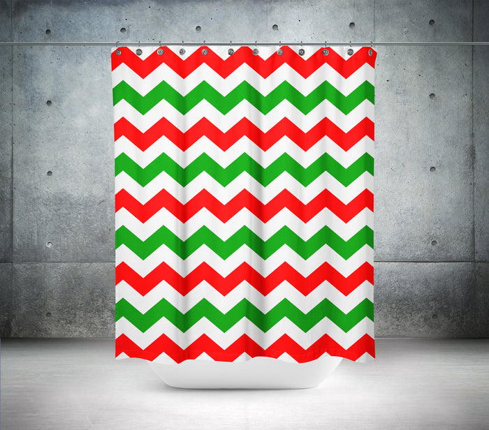 Red & Green Chevron Shower Curtain