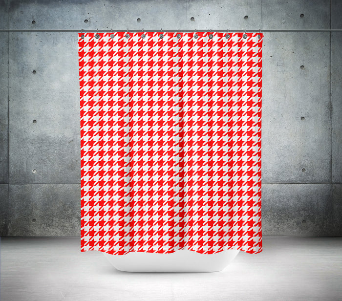 Red & White Hounds Tooth Shower Curtain