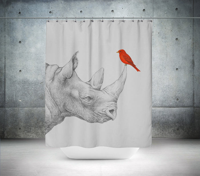 Chilling With My Rhino Shower Curtain