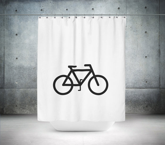 B & W Bicycle Shower Curtain