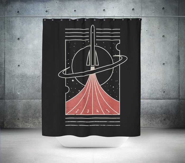 Retro Rocket Launch Shower Curtain
