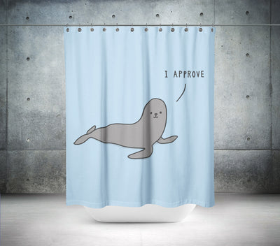"""I Approve"" Seal Shower Curtain"