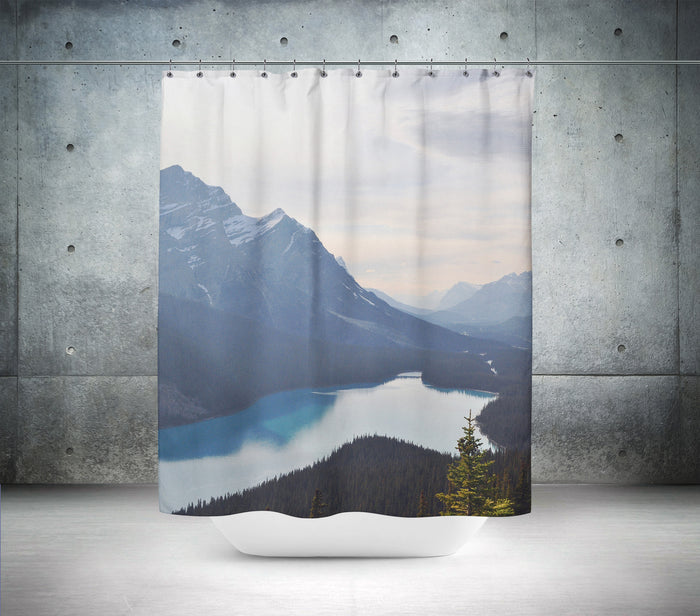 Snowy Mountain Scene Shower Curtain