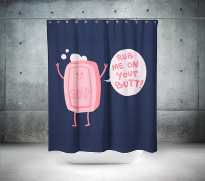 """Rub Me"" Shower Curtain"
