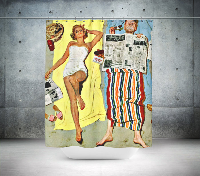 Retro Beach Towel Shower Curtain