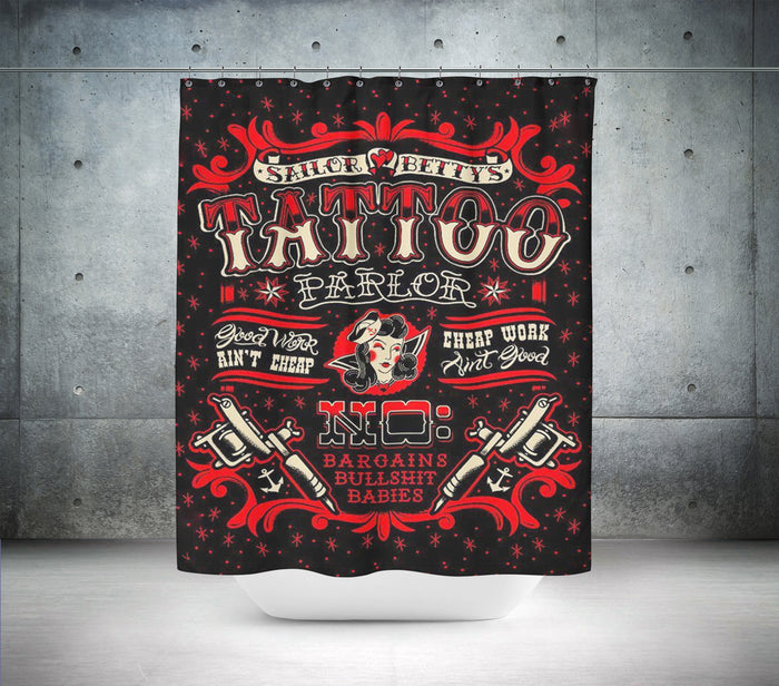 Sailor Bettys Tattoo Parlor Shower Curtain