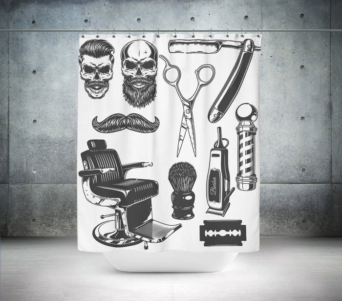 Vintage Barber Grooming Shower Curtain