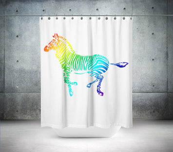 Coloured Zebra Shower Curtain