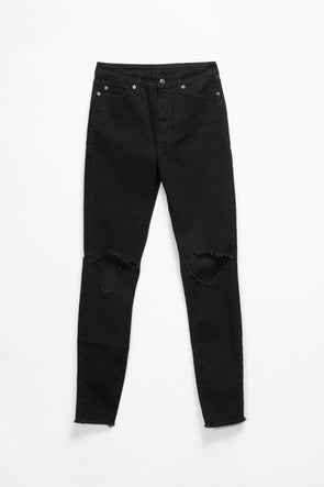 Ksubi Women's Hi N Wasted Trashed Black Denim - Rule of Next Apparel