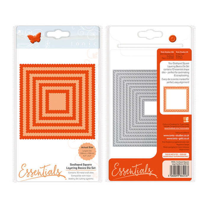 Tonic Studios - A2 Layering Basics - Scalloped Squares Die Set - 1453e