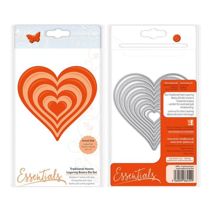 Tonic Studios - A2 Layering Basics - Traditional Heart Die Set - 1459e