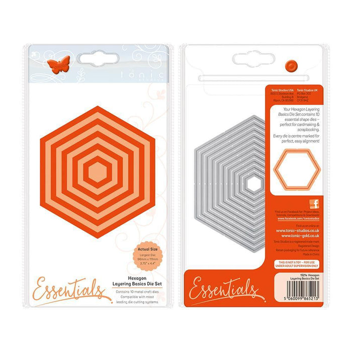 Tonic Studios - A2 Layering Basics - Hexagon Die Set - 1521e