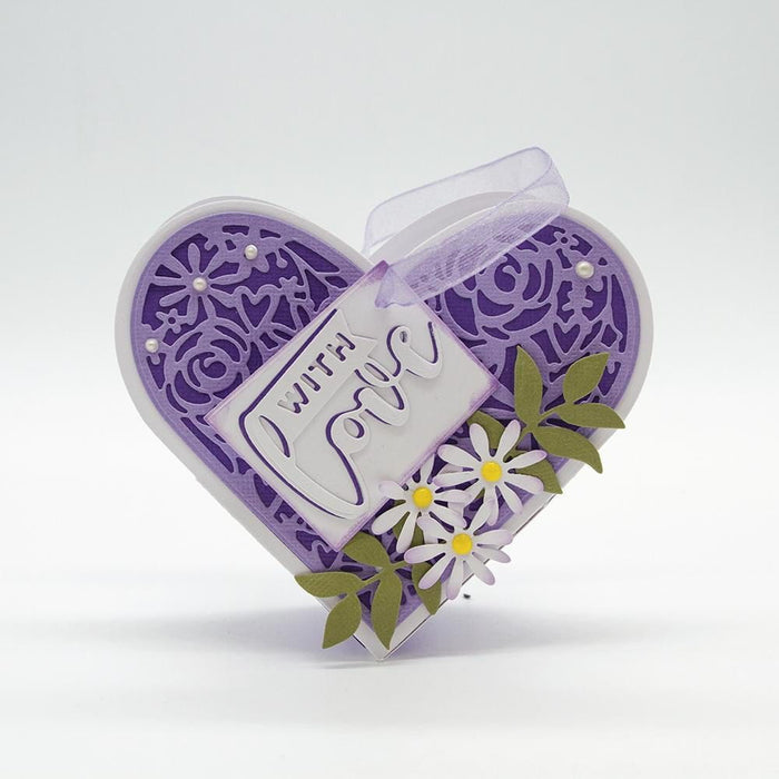 Tonic - Die - Dimensions - Intricate Floral Heart - 2550e