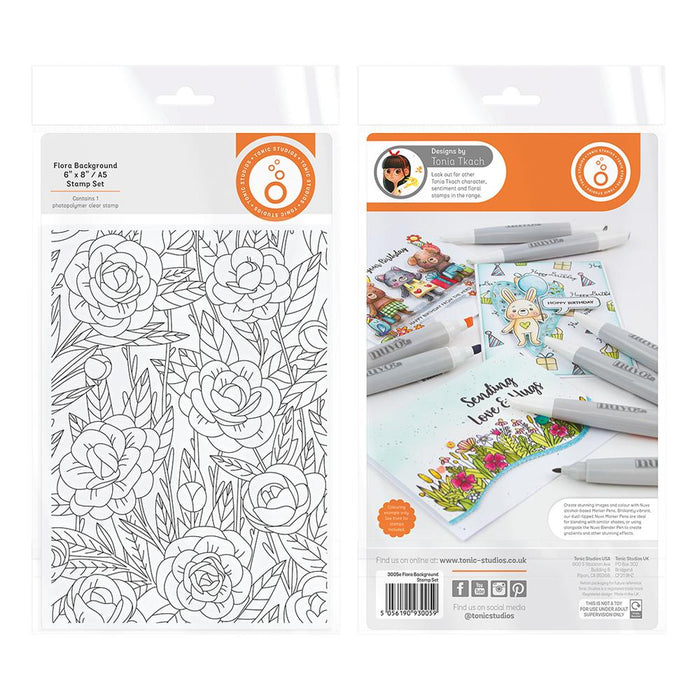 "Tonic Studios - Garden Party Stamps - Flora Background - 6""x 8"" / A5 - 3005e"