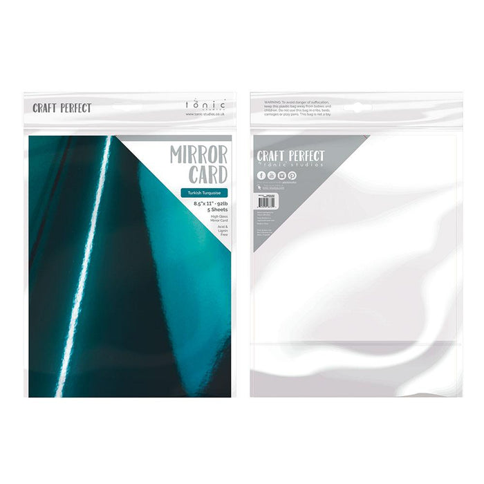 "Craft Perfect - Mirror Card 8.5""x11"" High Gloss - Turkish Turquoise (5/PK) - 8731e"