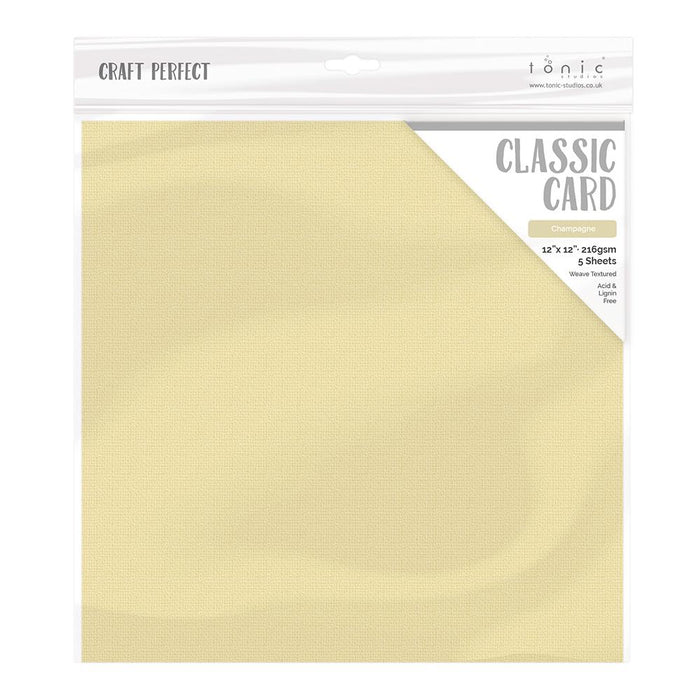 "Craft Perfect - Classic Card - Champagne - Weave Textured - 12"" x 12"" (5/Pk) - tonicstudios"