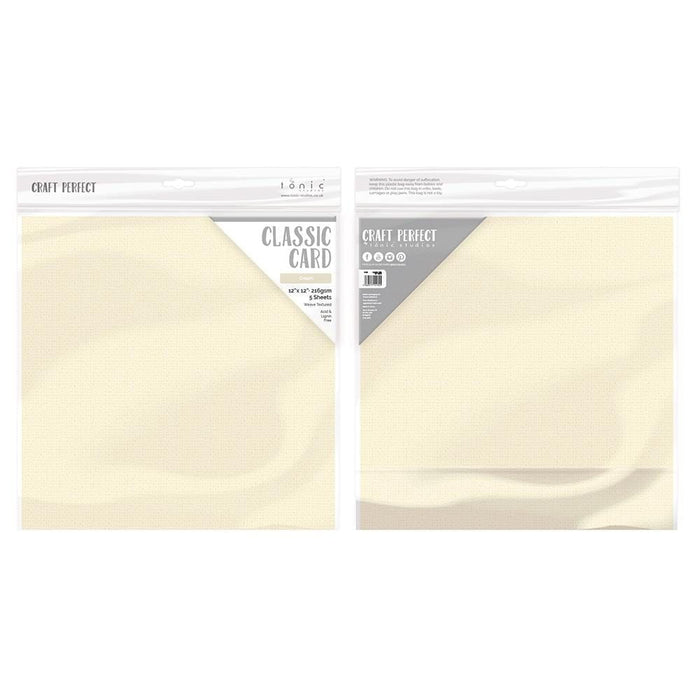 "Craft Perfect - Classic Card - Cream - Weave Textured - 12"" x 12"" (5/Pk) - tonicstudios"