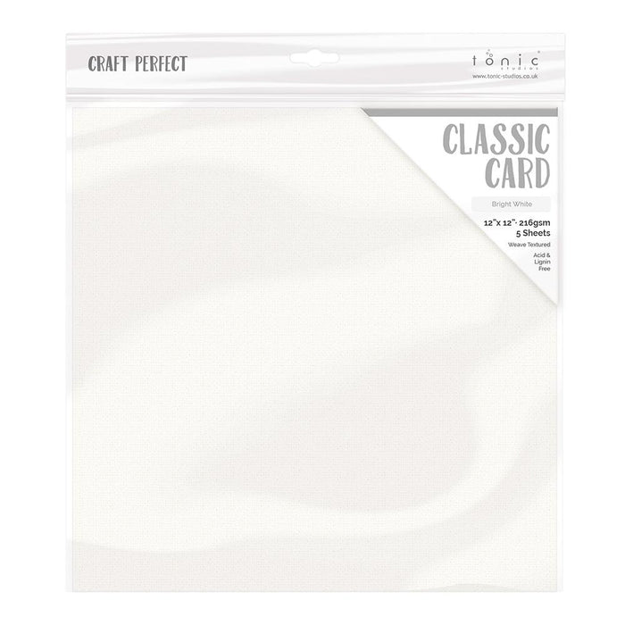 "Craft Perfect - Classic Card - Bright White - Weave Textured - 12"" x 12"" (5/Pk) - tonicstudios"