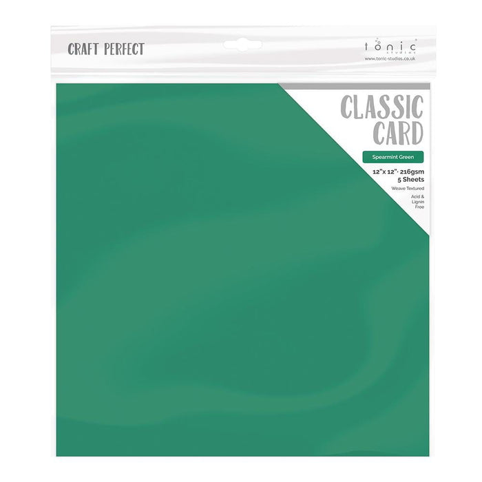 "Craft Perfect - Classic Card - Spearmint Green - Weave Textured - 12"" x 12"" (5/Pk) - 9163E - tonicstudios"