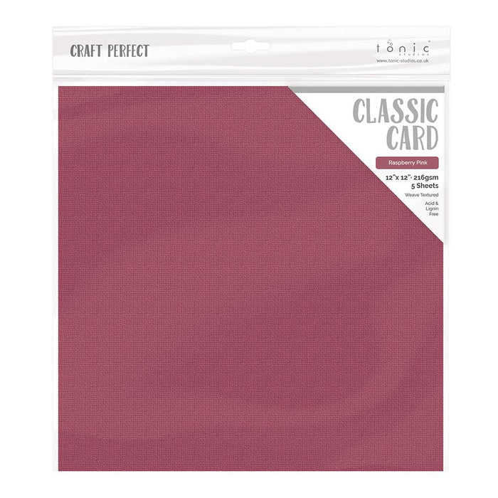 "Craft Perfect - Classic Card - Raspberry Pink - Weave Textured - 12"" x 12"" (5/Pk) - tonicstudios"