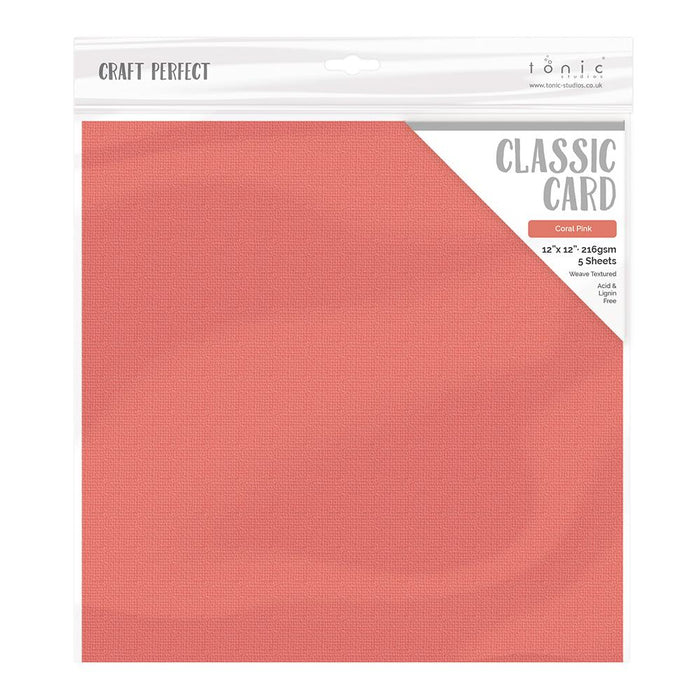 "Craft Perfect - Classic Card - Coral Pink - Weave Textured - 12"" x 12"" - 5 Pack - 9184E - tonicstudios"
