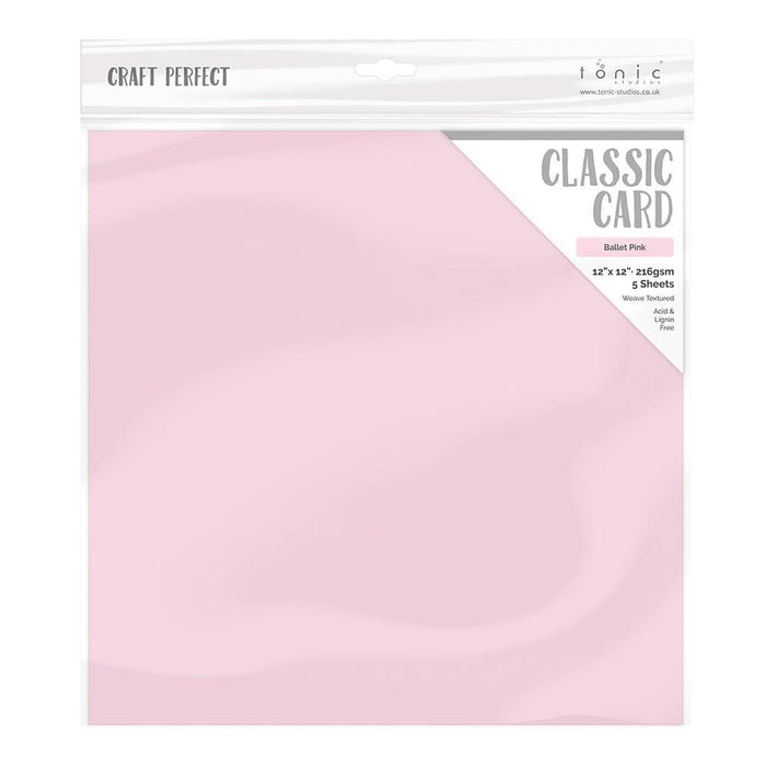 "Craft Perfect - Classic Card - Ballet Pink - Weave Textured - 12"" x 12"" (5/Pk) - 9210e"