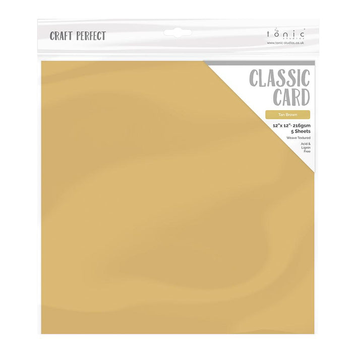 "Craft Perfect - Weave Textured Classic Card - Tan Brown - 12""x12"" (5/PK) - 9240e"