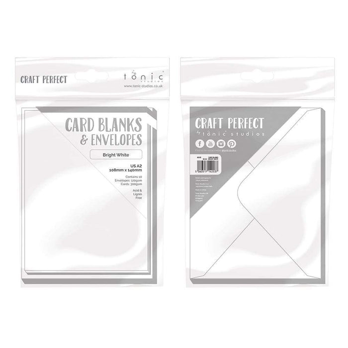 Craft Perfect - 10 Card Blanks & Envelopes - Bright White - A2 - 9253e - tonicstudios