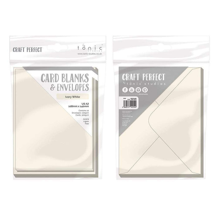 Craft Perfect - 10 Card Blanks & Envelopes - Ivory White - A2 - 9254e - tonicstudios