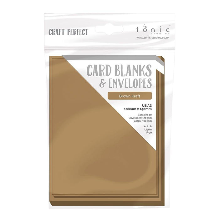 Craft Perfect - 10 Card Blanks & Envelopes - Kraft Card - A2 - 9255e - tonicstudios