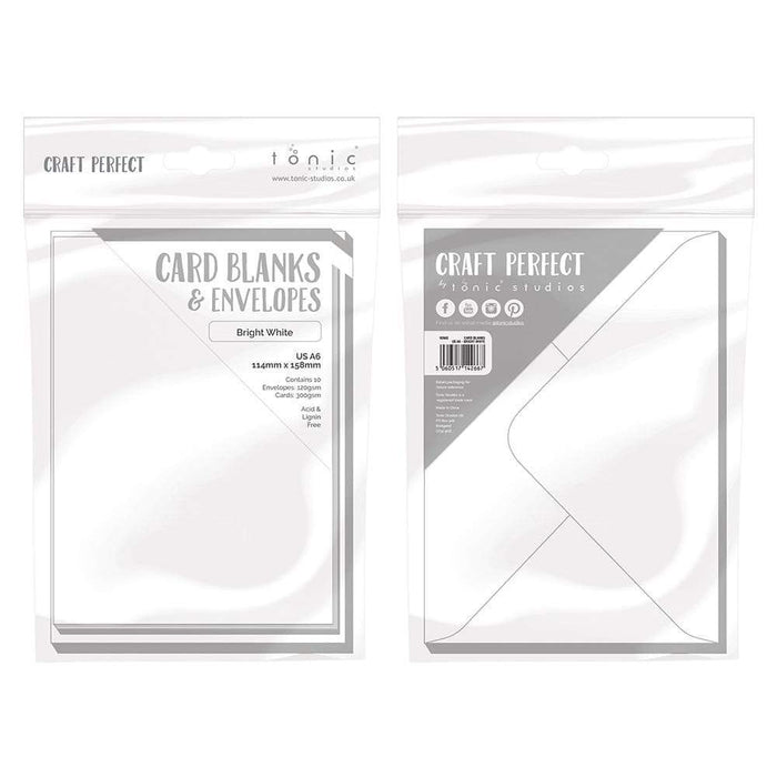 Craft Perfect - 10 Card Blanks & Envelopes - Bright White - A6 - 9266e - tonicstudios