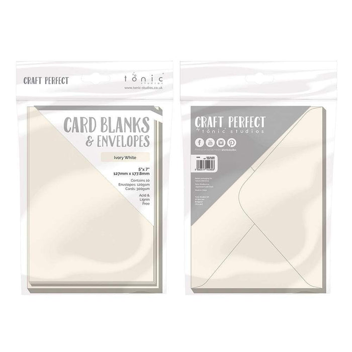 "Craft Perfect - 10 Card Blanks & Envelopes - Ivory White - 5"" x 7""- 9280e - tonicstudios"