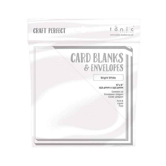 "Craft Perfect - 10 Card Blanks & Envelopes - Bright White - 6"" x 6""- 9291e - tonicstudios"