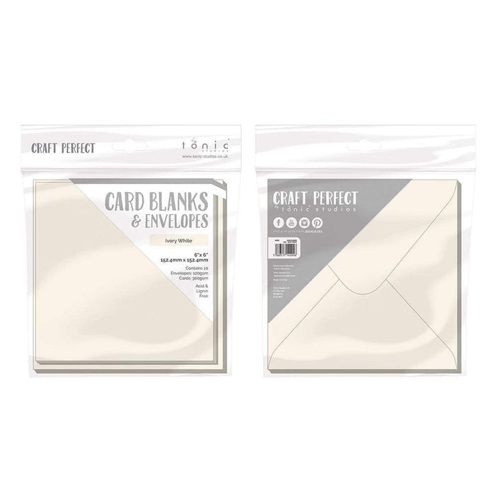 "Craft Perfect - 10 Card Blanks & Envelopes - Ivory White - 6"" x 6""- 9292e - tonicstudios"