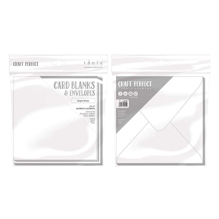 "Craft Perfect - 10 Card Blanks & Envelopes - Bright White - 7"" x 7""- 9302E - tonicstudios"